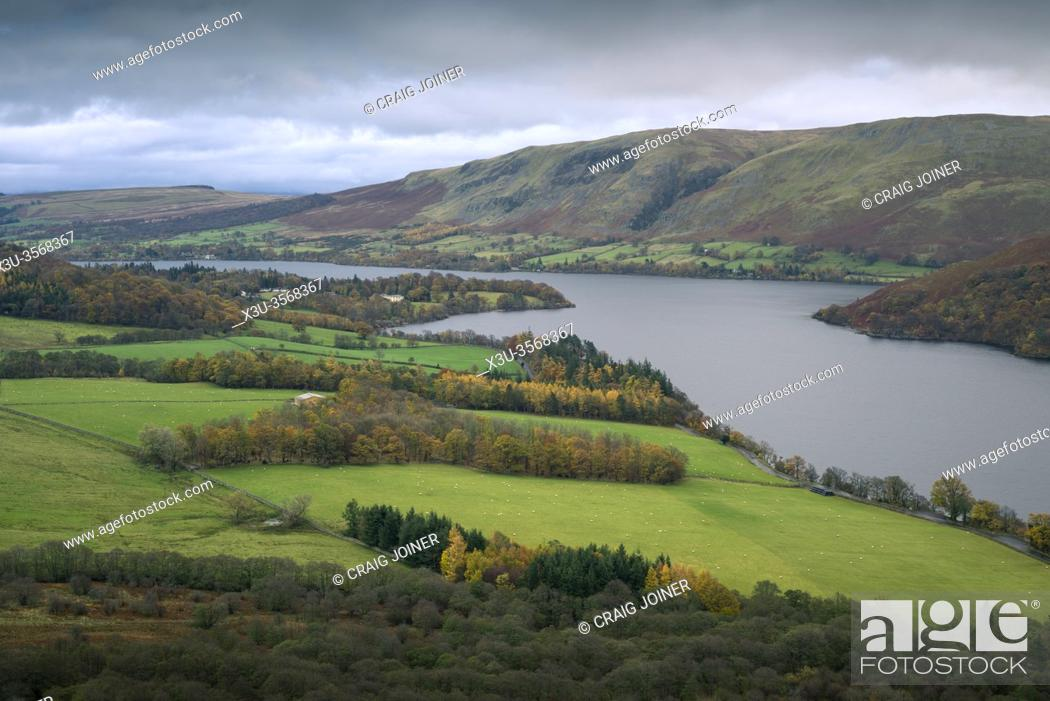 Stock Photo: Autumnal view from Gowbarrow Fell over Ullswater lake with Barton Fell beyond in the Lake District National Park, Cumbria, England.