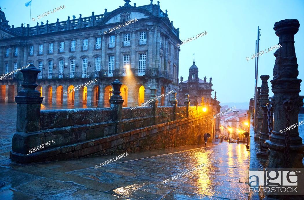 Stock Photo: Pazo de Raxoi (now the Town Hall) on Plaza del Obradoiro, Santiago de Compostela, A Coruña, Galicia, Spain.