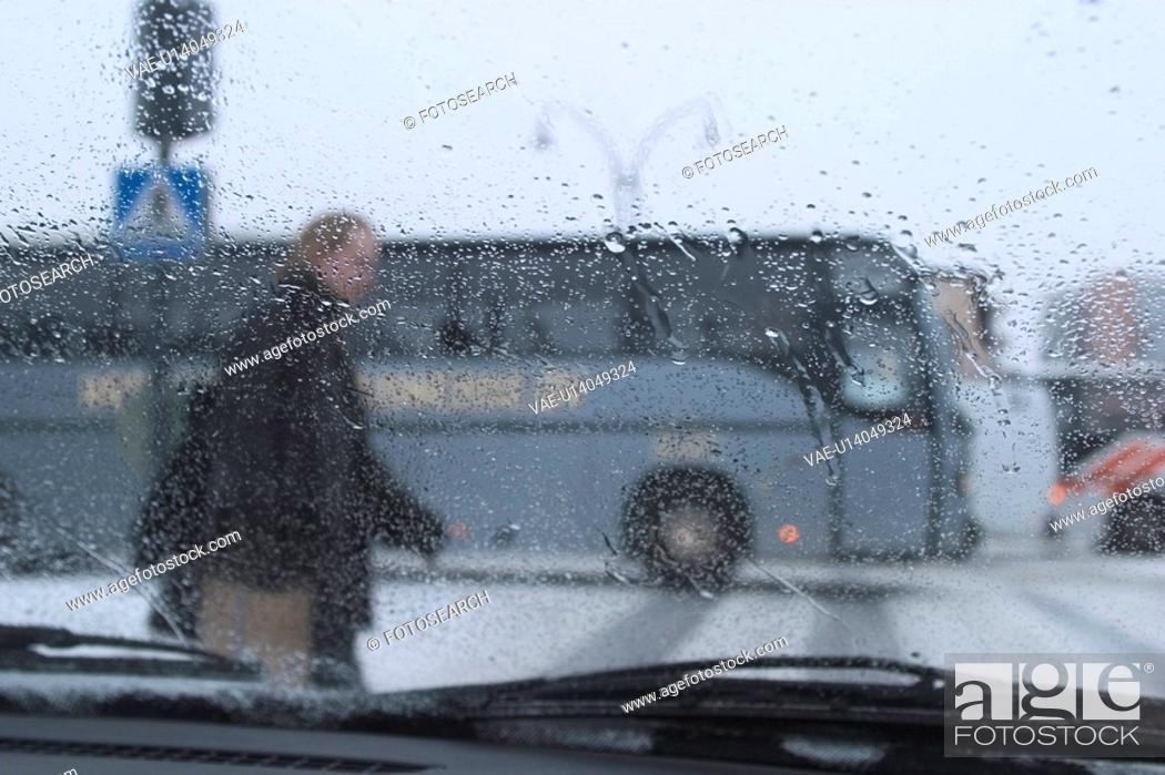 Stock Photo: rainy day, roadside, cars, van, transportation.