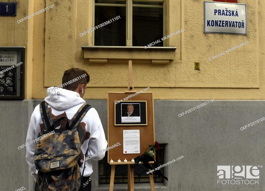 Stock Photo: A pious place to singer Karel Gott's death is seen in front of Prague Conservatory building in Prague, Czech Republic, on October 3, 2019.