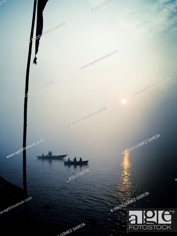 Stock Photo: Ganges river  Varanasi  Uttar Pradesh  India.