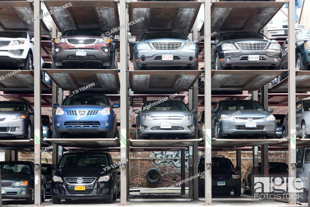 Stock Photo: Vertical parking spaces in Manhattan, New York City, New York, USA.