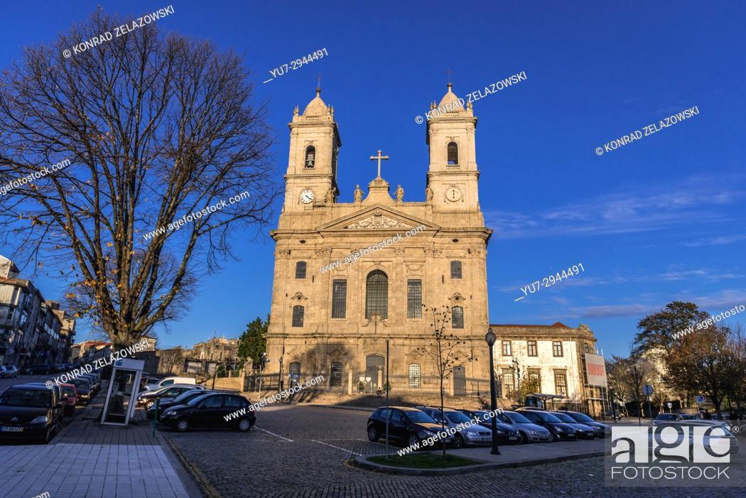 Stock Photo: Front facade of Church of Lapa (Igreja da Lapa) in Cedofeita former civil parish of Porto city on Iberian Peninsula, second largest city in Portugal.