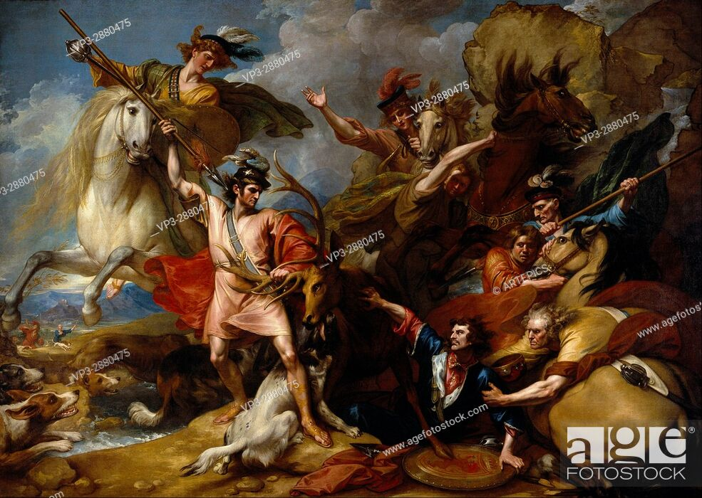 Imagen: Benjamin West - Alexander III of Scotland Rescued from the Fury of a Stag by the Intrepidity - National Galleries of Scotland.