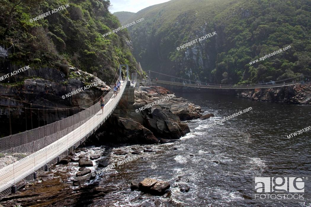 Imagen: Suspension bridges over the mouth of storms river, Tsitsikamma National Park, South Africa.