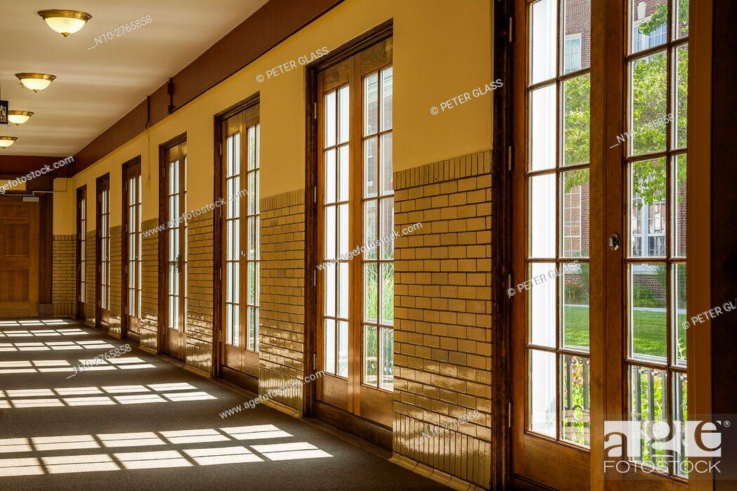 Stock Photo: Hallway with glass doors.