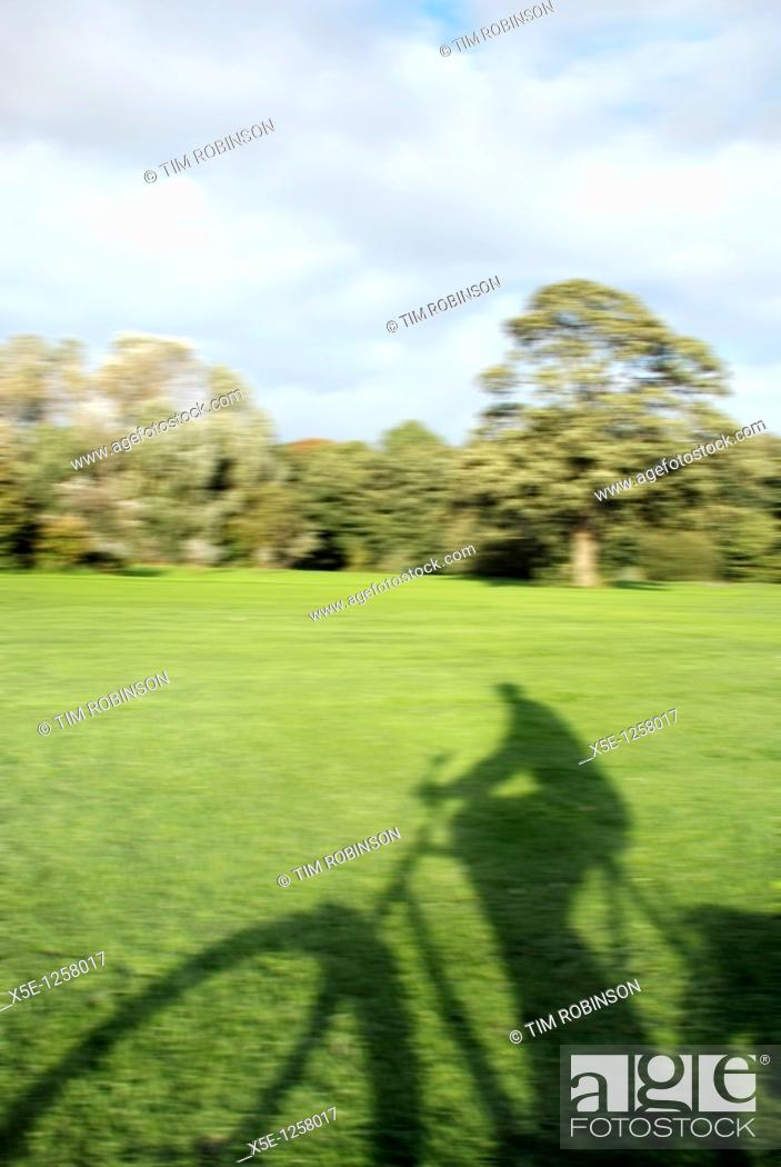 Stock Photo: Shadow of male cyclist cycling through park.