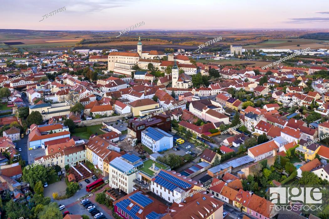Stock Photo: Aerial view of the Mikulov Castle and town at dawn in the South Moravia town of Mikulov in the Czech Republic.