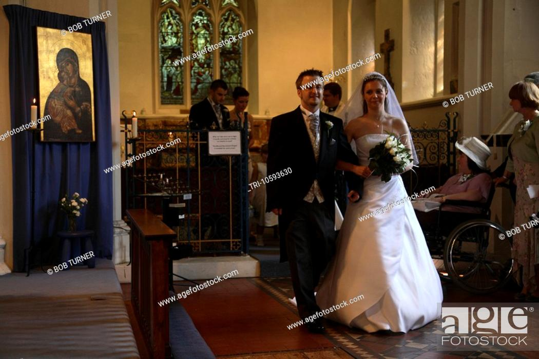 Bride And Groom Inside After Wedding Ceremony St Marys Church