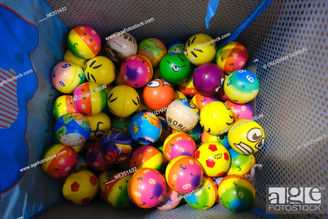 Stock Photo: Colorful plastic play balls for small children and play room colored balls for fun.