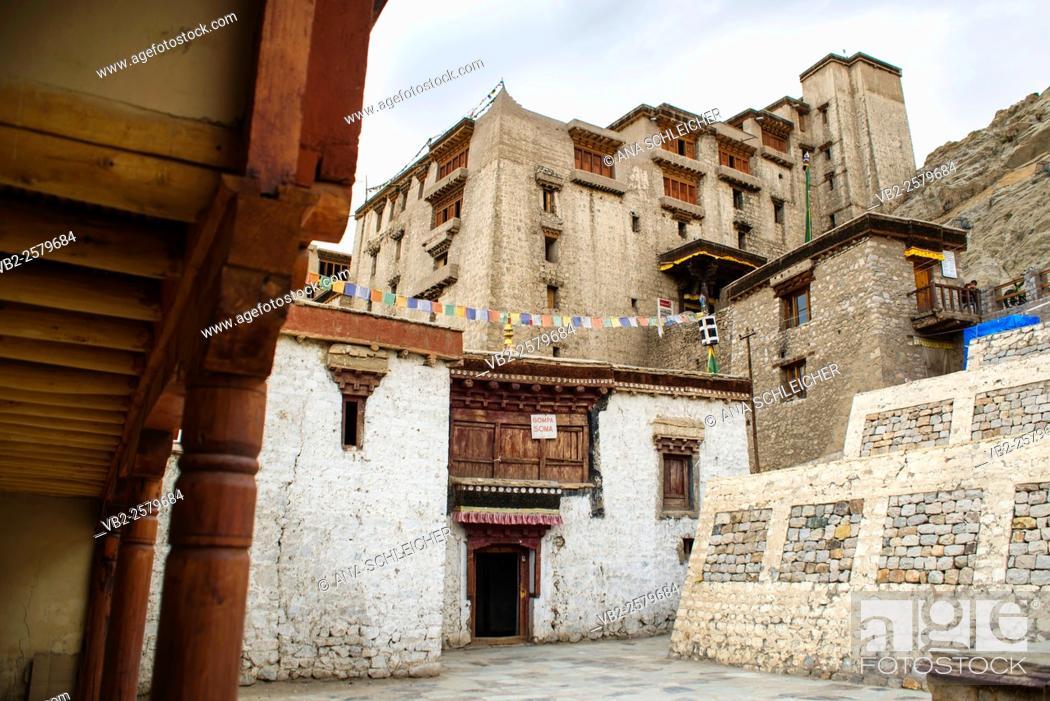 Stock Photo: 17th century Leh palace entrance (Ladakh, India).