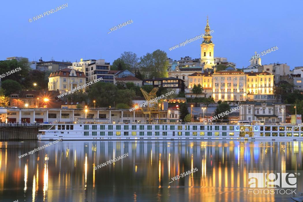 Stock Photo: Belgrade at Dusk as Seen from Sava River, Serbia.