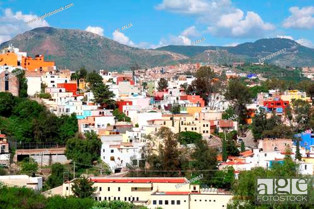 Stock Photo: landscape of colorful town- Guanajuato in Mexico.