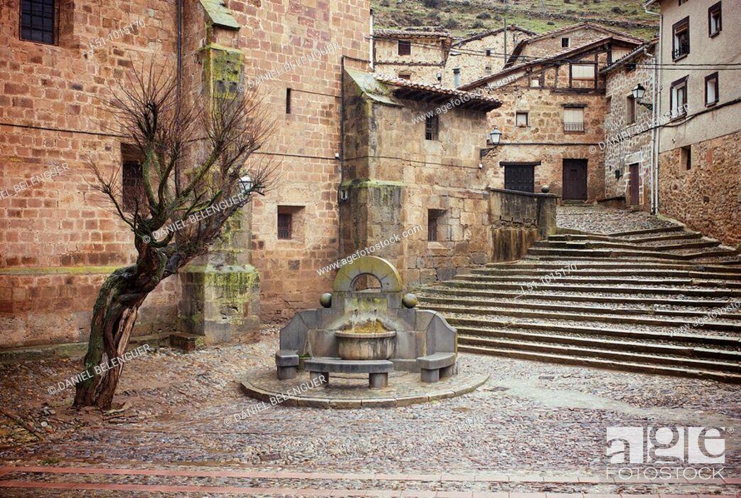 Stock Photo: Main square on Brieva de Cameros, La Rioja.