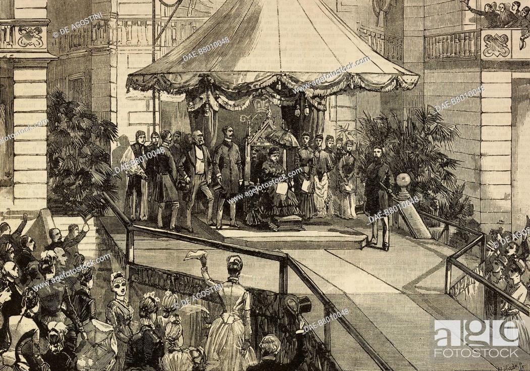 Victoria (1819-1901), Queen of the United Kingdom, opens the Royal