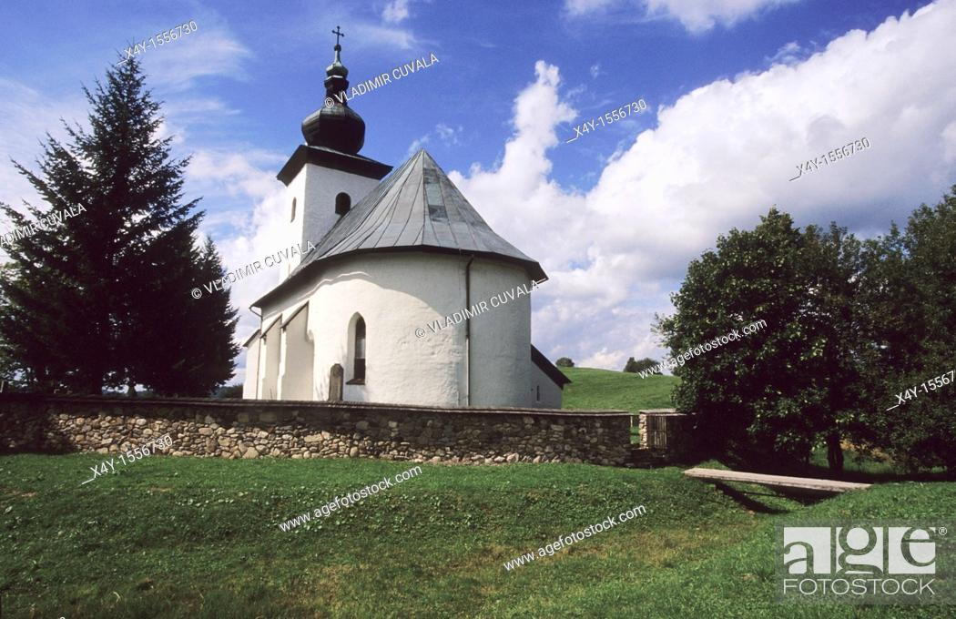 Stock Photo: Isolated gothic church dedicated to St  John the Baptist, located at the geographical center of Europe, Kremnicke Bane, Slovakia.