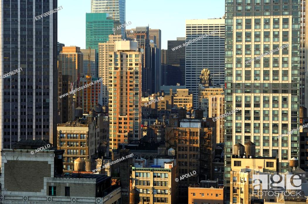 Stock Photo: Urban compression with low-rising residential and commercial buildings in midtown Manhattan, New York, USA.