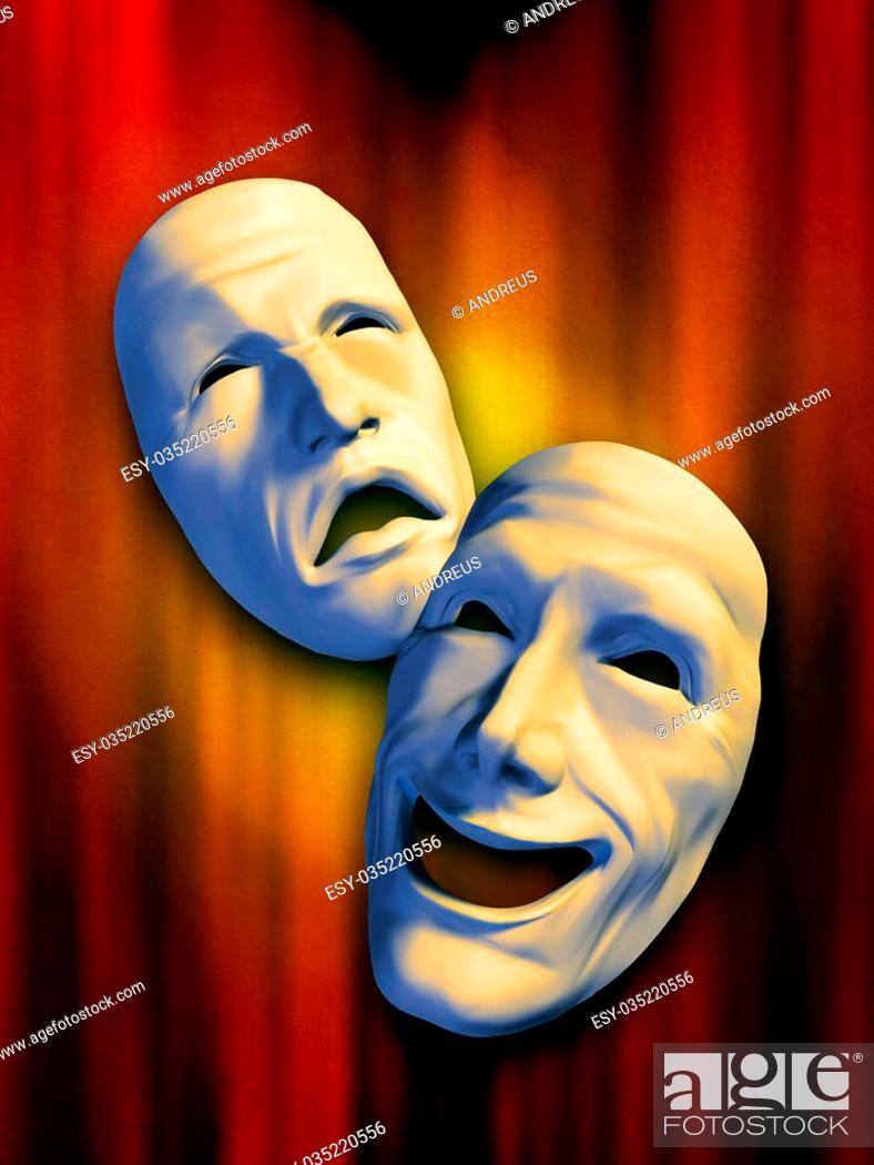 Photo de stock: Sad and happy masks on a warm background. Digital illustration.