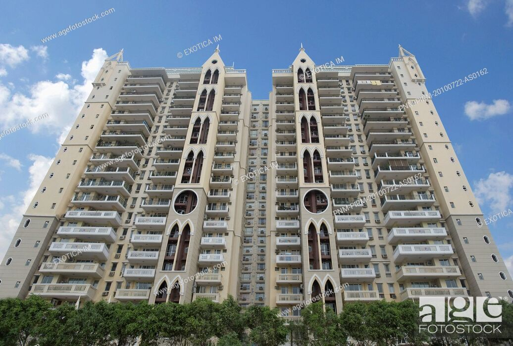 Stock Photo: Low angle view of an office building, Gurgaon, Haryana, India.