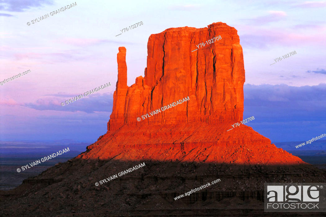 Stock Photo: Monument Valley Mesa at dusk. Utah. USA.
