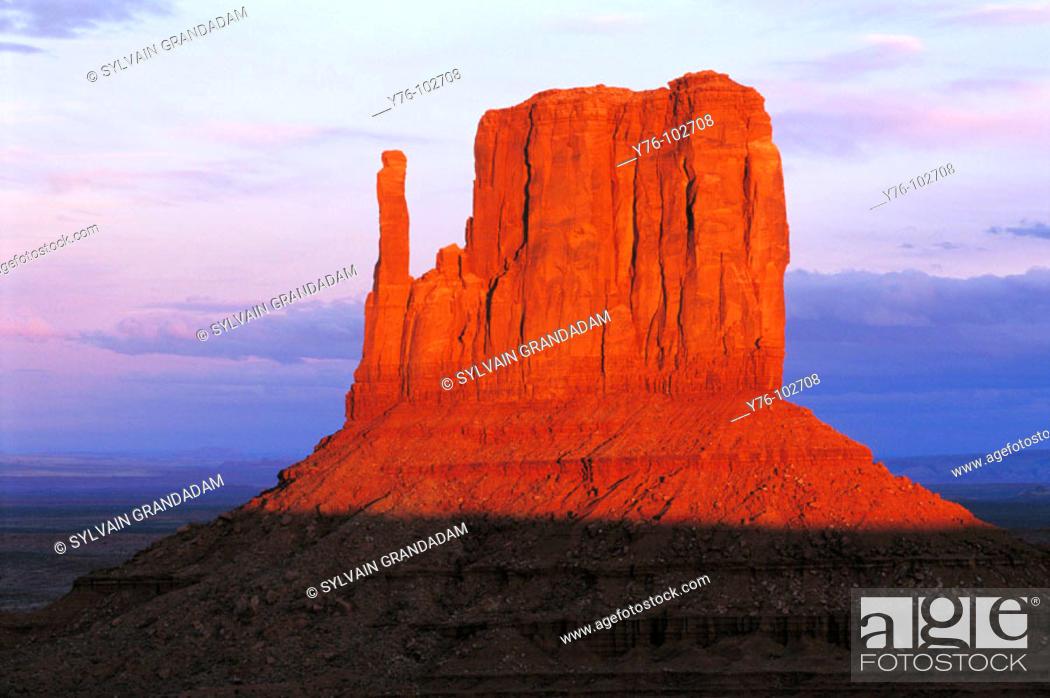 Stock Photo: Monument Valley Mesa at dusk. Utah. USA.