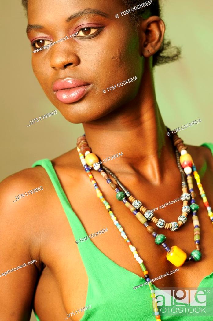 Stock Photo: Black African Model wearing beads.