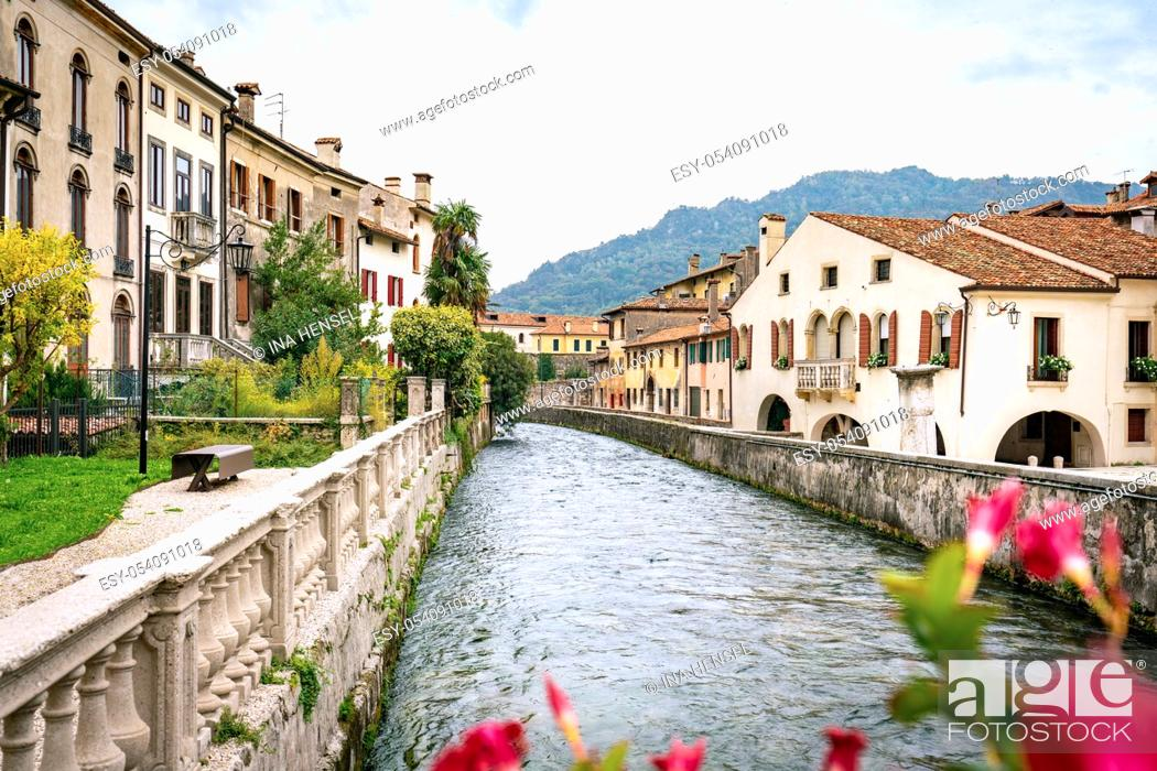 Stock Photo: Panoramic view of the river Meschio and town of Serravalle, part of Vittorio Veneto, in Italy with red flowers in the foreground.