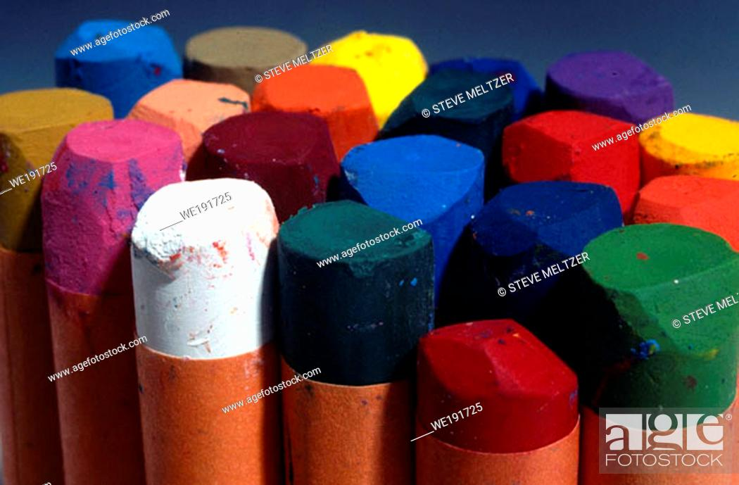 Stock Photo: A package of colorful chalks.