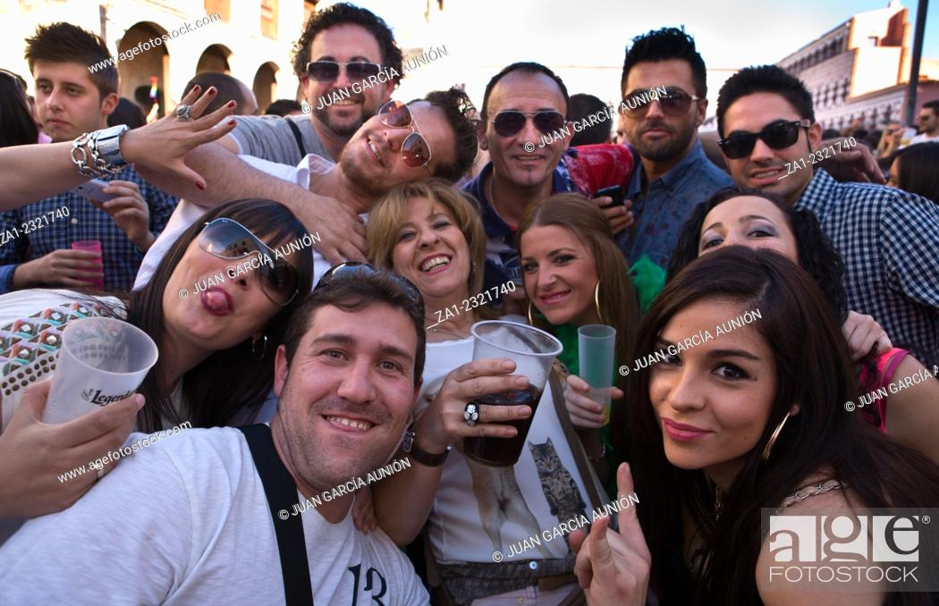 """Stock Photo: BADAJOZ , SPAIN - MAY 04 : The annual """"""""lame pigeons"""""""" (palomos cojos in spanish) party. A huge gay pride feast at High Square of Badajoz."""