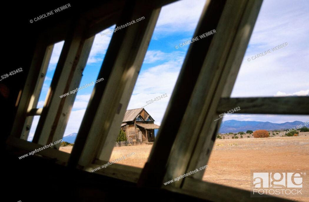 Stock Photo: Ghost town near Santa Fe, New Mexico, USA.
