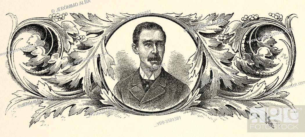 Stock Photo: Portrait of César Conto Ferrer (1836 - 1892) Politician, poet, translator and sudden Colombian. Liberal Party. President of the State of Cauca.