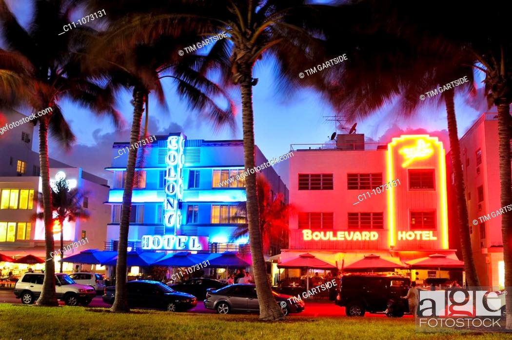 Stock Photo Colony And Boulevard Hotel South Beach Ocean Drive Miami