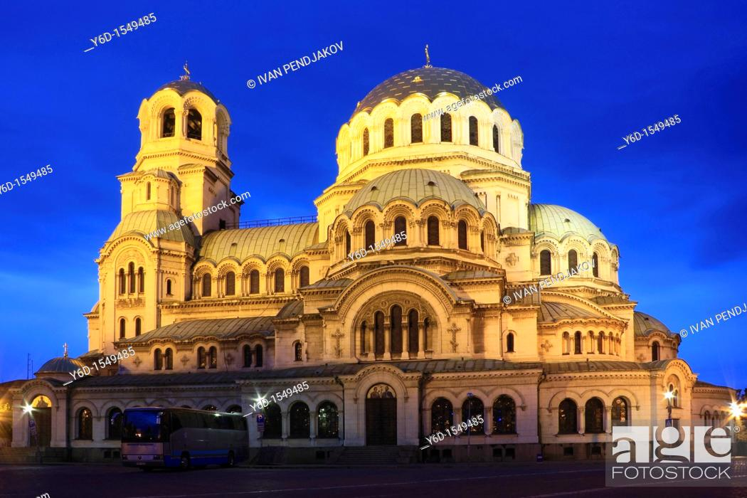 Stock Photo: St Alexander Nevsky Cathedral at Dusk, Sofia, Bulgaria.