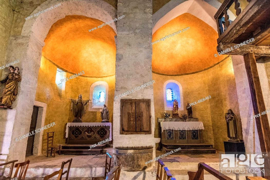 Stock Photo: France, Natural regional park Causses du Quercy, Creysse, church Saint Germain (12th century), double apse.