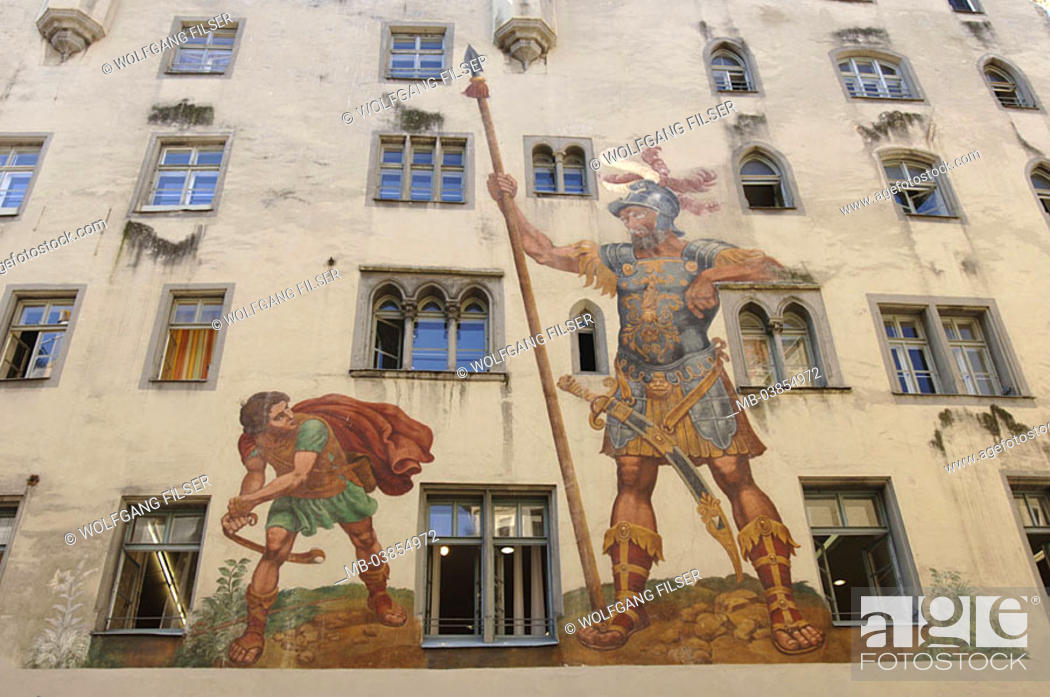 Stock Photo: Germany, Bavaria, Regensburg, house-facade, wall-painting, paintings, detail, Southern Germany, waiter-palatinate, city, old part of town, district.