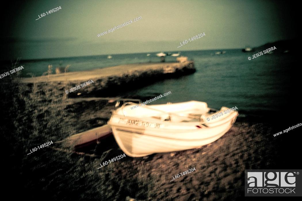 Stock Photo: Boat in Port, Isleta del Moro, Cabo de Gata, Almeria.