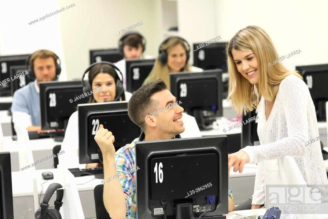 Stock Photo: Students in language laboratory, Language training classroom, University of the Basque Country, Donostia, San Sebastian, Gipuzkoa, Spain.