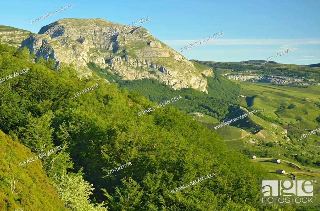Stock Photo: View of Collados de Asón Natural Park from Portillo de Sia, Cantabria, Spain.