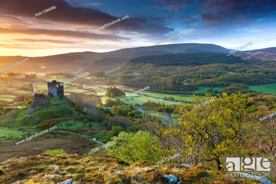 Stock Photo: Dolwyddelan Castle Welsh: Castell Dolwyddelan was a native Welsh castle located near Dolwyddelan in Conwy County in North Wales  It was built in the 13th.