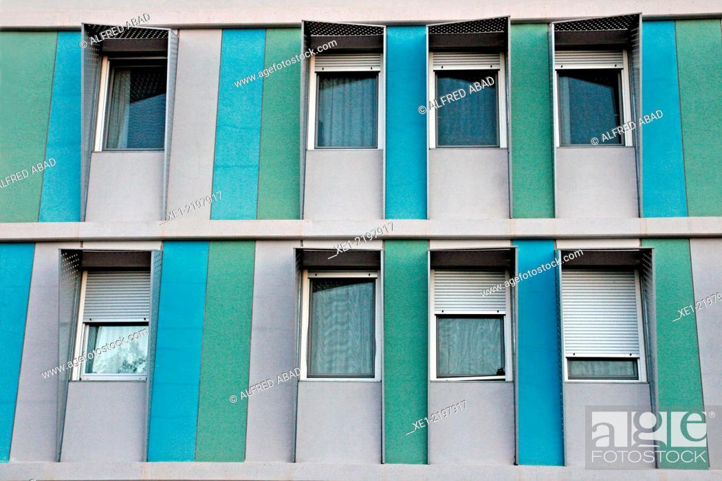 Stock Photo: University accommodation Pius Font i Quer, Mediterranean Technology Parc, UPC, Castelldefels, Catalonia, Spain.