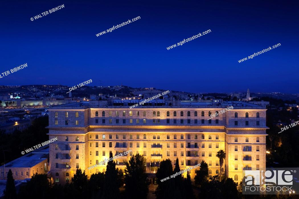 Stock Photo: Israel, Jerusalem, New City, elevated city view with King David Hotel, evening.