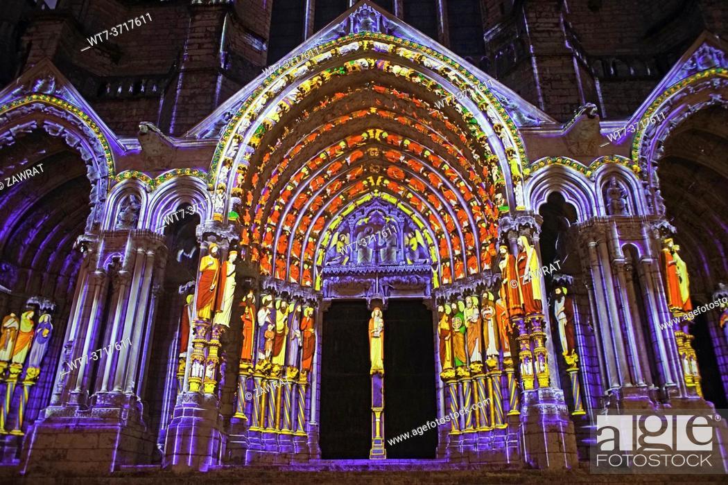 Stock Photo: Illuminated cathedral, portals .