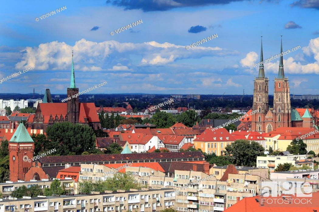 Stock Photo: Poland, Polish, Eastern Europe, Central Europe, Europe, European, Architecture, building, Church, house, Wroclaw, Lower Silesia, Breslau, Spire, City, town.