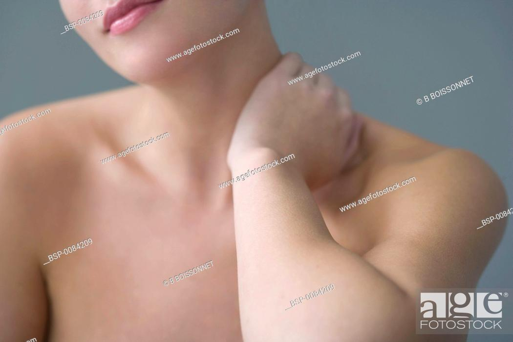 Stock Photo: CERVICALGIA IN A WOMAN Model.