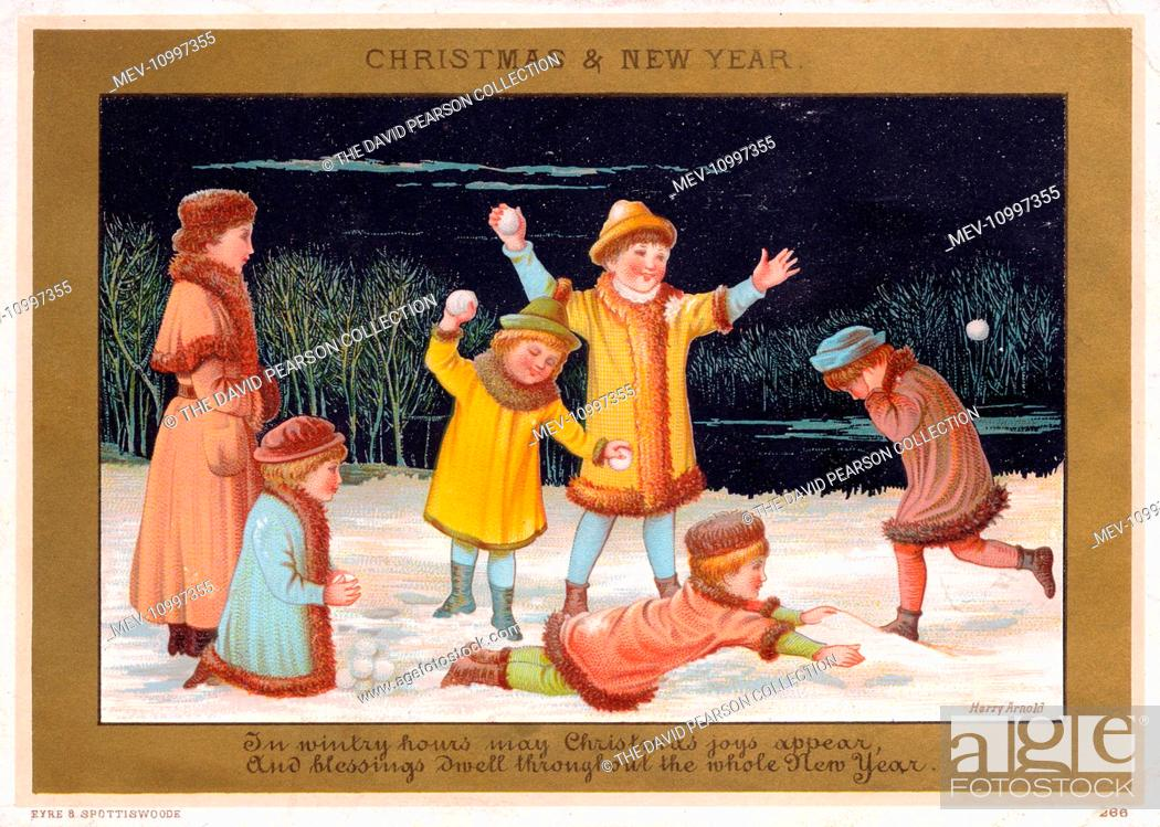 stock photo six children snowballing on a christmas and new year card