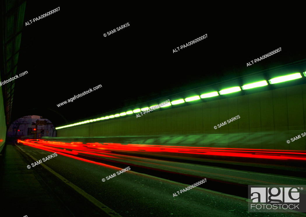 Stock Photo: Light trails at night, blurry.