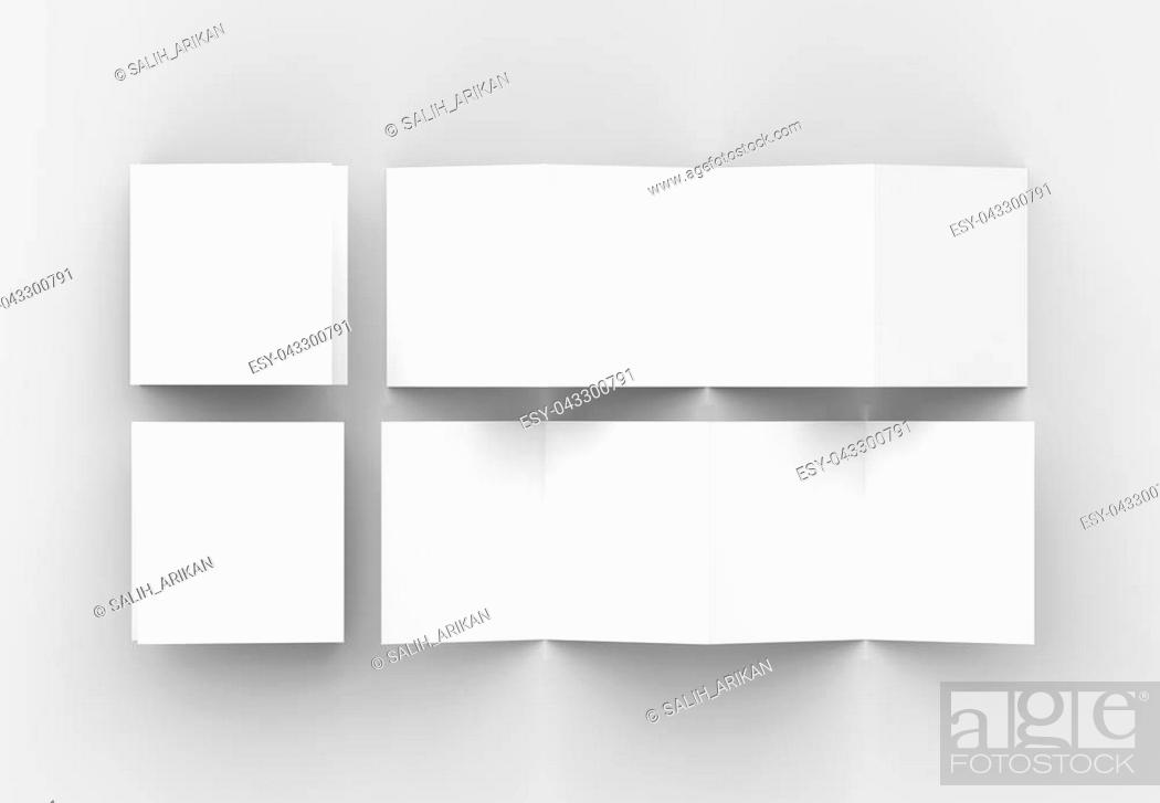 Stock Photo: 8 page leaflet, 4 panel accordion fold square brochure mock up isolated on light gray background. 3D illustrating.