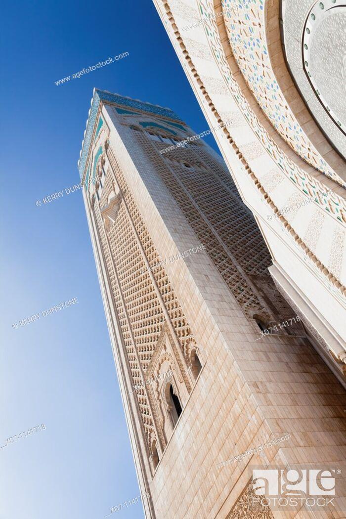 Stock Photo: Morocco Casablanca (Dar el Beida) Hassan II Mosque Minaret detail.