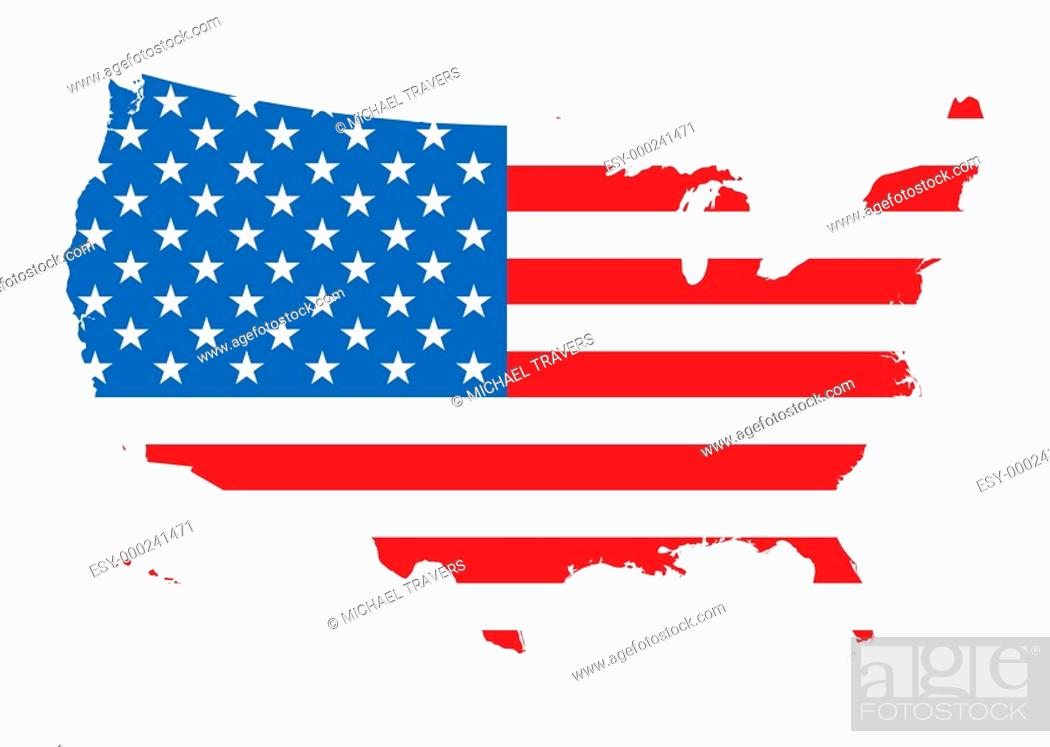 Stock Photo: us map flag.