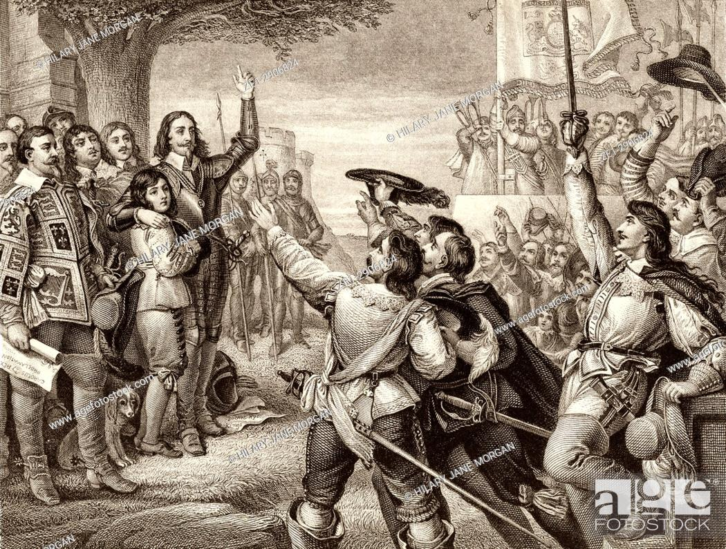 Stock Photo: The opening scene of the First English Civil War. Charles I erecting his royal standard at Nottingham, England, August 22nd, 1642.